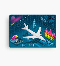 Isometric Airplane Infographic Airport Canvas Print