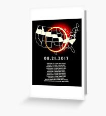 States of the USA Total Eclipse 08/21/2017 Greeting Card