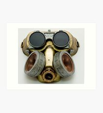 Steampunk Gas Mask and Goggles Art Print