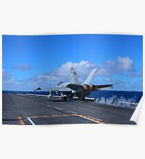 An F/A-18C Hornet launches from aircraft carrier USS Carl Vinson. Poster