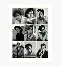cole sprouse black and white aesthetic collage Art Print