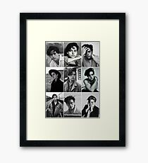 cole sprouse black and white aesthetic collage Framed Print