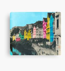 ARCHITECTURE - Alt #tuebingen Stadt Tübingen Neckarfront Hölderlinturm Leinwanddruck