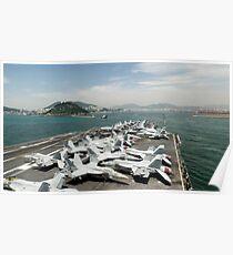 USS George Washington prepares to enter the harbor in Korea. Poster
