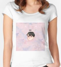 BTS -BS, T Chibi SUGA with bg Women's Fitted Scoop T-Shirt