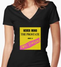 Nevermind the Prostate I'm a Punk Grandad Women's Fitted V-Neck T-Shirt