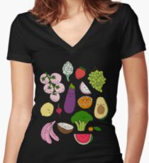Fruits and vegetables by Elebea Women's Fitted V-Neck T-Shirt