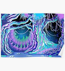 Magic Tale Blacklight Forest Background Poster