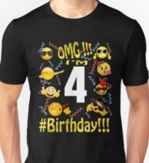 Emoji Birthday Shirt For 4 Four Year Old Girl Boy Party Unisex T