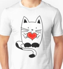 CAT IN LOVE - HEART Unisex T-Shirt