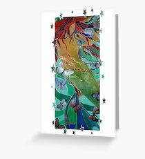Mermaid Swimming with Butterflies Greeting Card