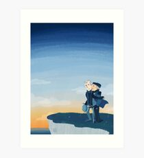 Watson on the Cliff by the Sea Art Print