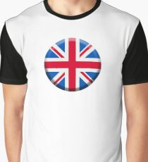 Union Jack, BUTTON, British Flag, UK, United Kingdom, Pure & simple, 1:2 Graphic T-Shirt