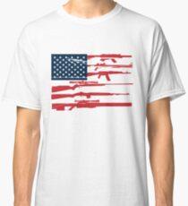 Camiseta clásica Apoye la 2da Enmienda Gun Rights Bandera Estadounidense