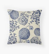 Blue Vintage Flower Bloom Drawing Country Illustration Throw Pillow