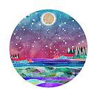 Pisces Constellation Watercolour Coastal Scene by Em Allard Smith