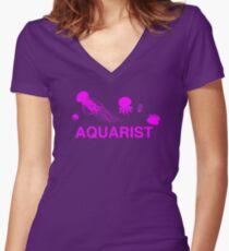 Sea Jellies Aquarist Women's Fitted V-Neck T-Shirt