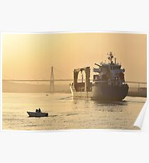 Cargo Ship in harbour Poster