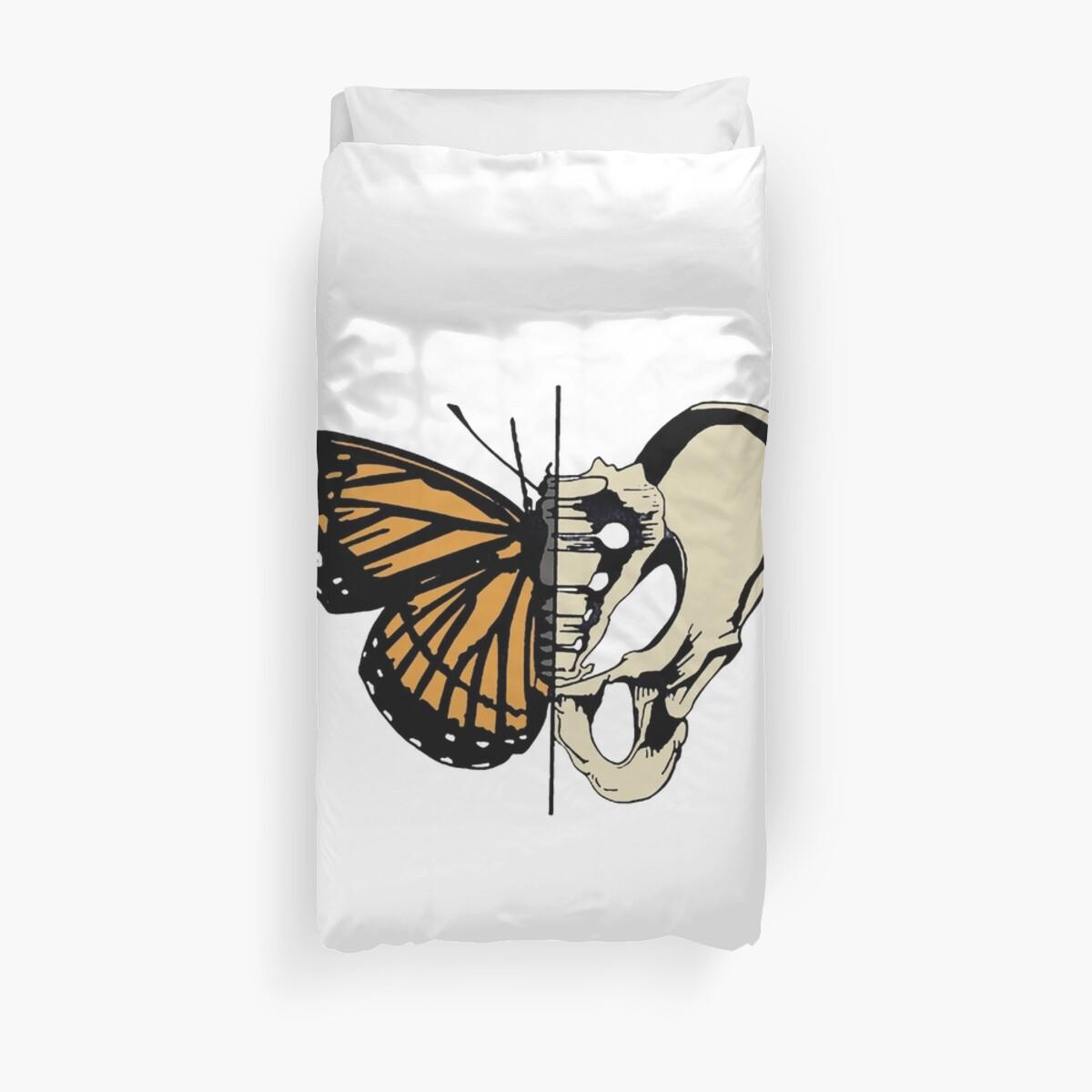 Butterfly Hip Skeleton Bone Metamorphosis Duvet Covers By