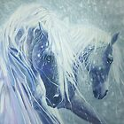Two silver stallions by Gill Bustamante