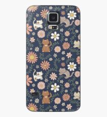 Flower Meower (Navy) Case/Skin for Samsung Galaxy