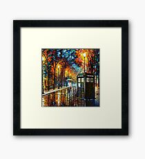 Tardis and Umbrella Girl Framed Print