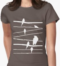 Birds on wire in white Womens Fitted T-Shirt