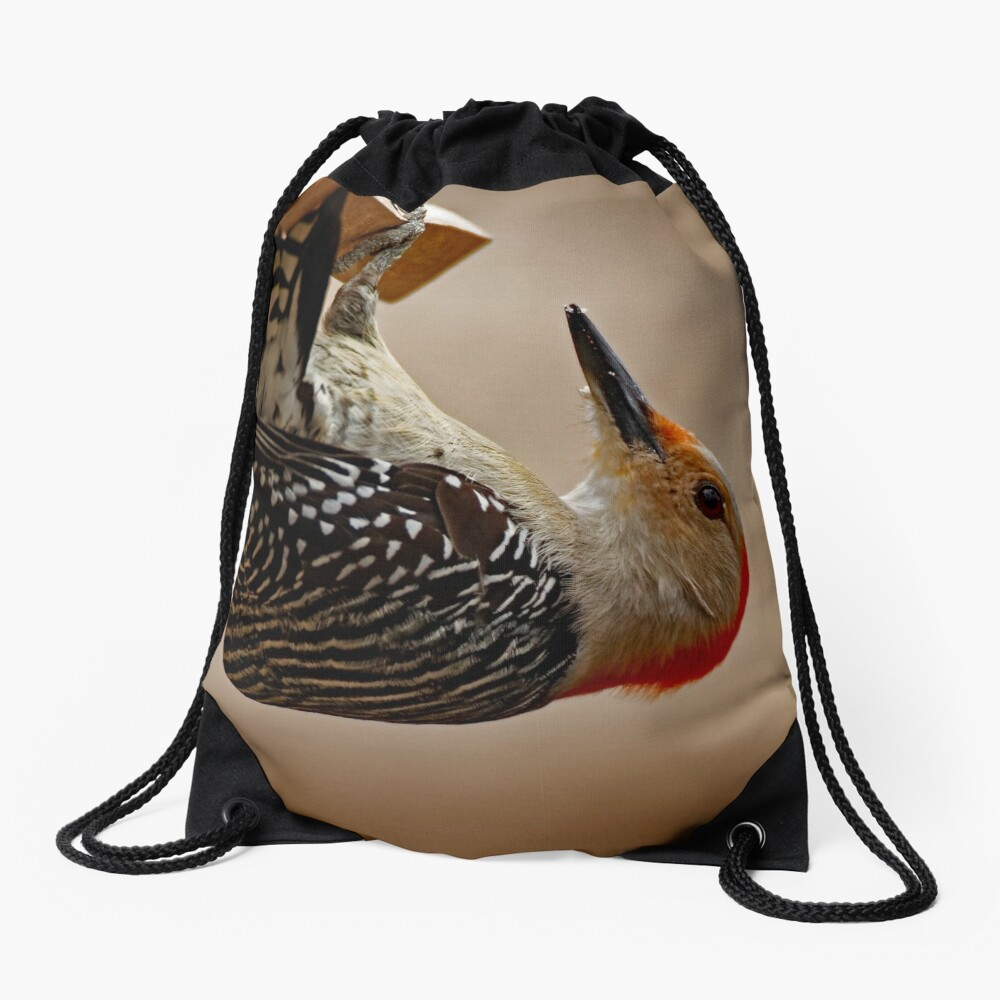 Red-Bellied Woodpecker on a Feeder Drawstring Bag