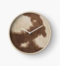 Brown Cowhide Clock