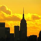 Yellow sunset silhouette, New York City  by Alberto  DeJesus