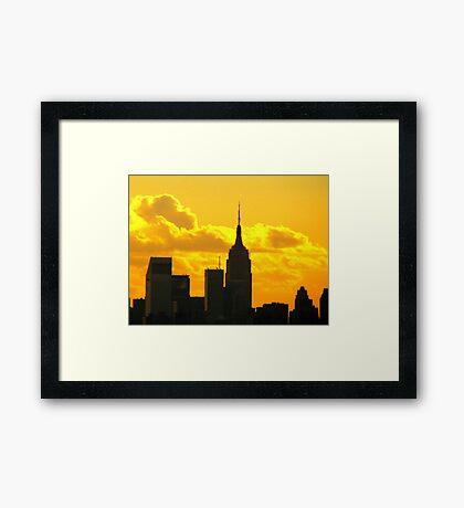 Yellow sunset silhouette, New York City  Framed Print