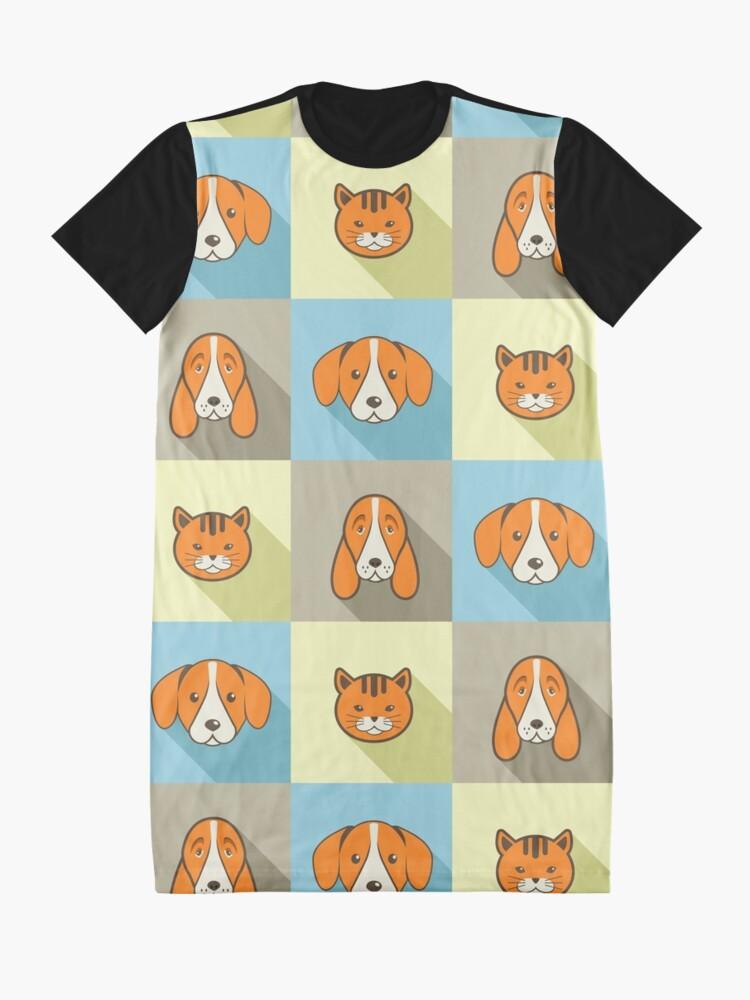 Alternative Ansicht von Zwei Hunde Eine Katze T-Shirt Kleid