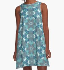 Gray, Teal, and Blue Seamless Pattern A-Line Dress