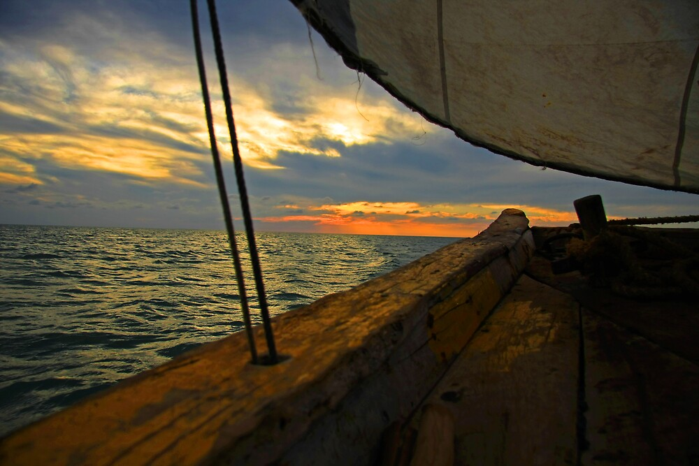 Bazaruto Island Sunset At Sea by deepe