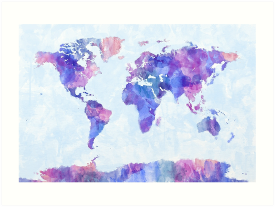 Map of the world map watercolor painting art prints by michael map of the world map watercolor painting by michael tompsett gumiabroncs Image collections
