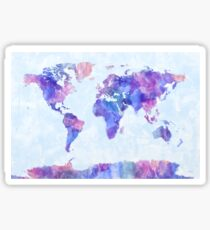 Map of the World Map Watercolor Painting Sticker