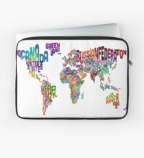 Text Map of the World Laptop Sleeve