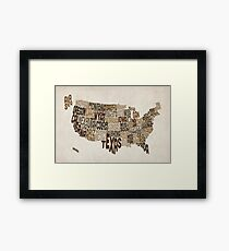 United States Typography Text Map Framed Print
