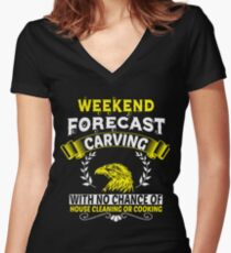 Weekend Forecast Carving T Shirt Women's Fitted V-Neck T-Shirt