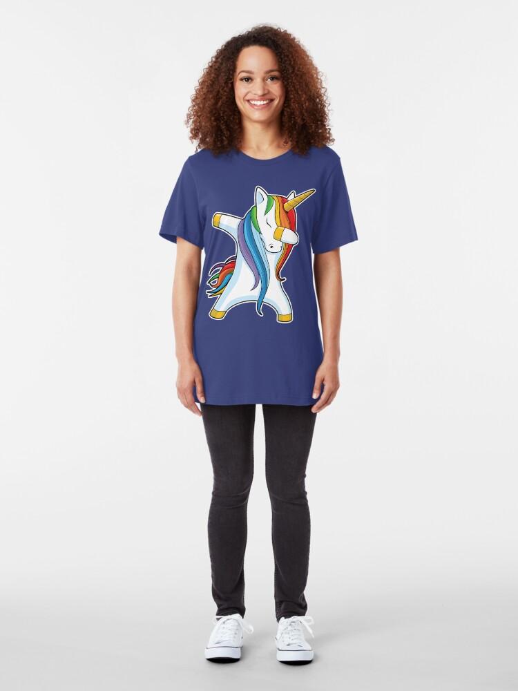 Alternative Ansicht von Abtupfendes Einhorn-Hemd Nettes lustiges Einhörner-T-Shirt Geschenke für Kindermädchen-Jungen-Frauen-Männer Slim Fit T-Shirt