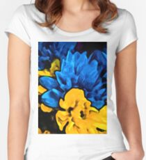 Yellow Flower and Blue Flowers Women's Fitted Scoop T-Shirt