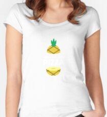 How To Ruin Pizza - Sweet Pineapple, Piña, Plant, Tree, Summer, Tropical Fruit Lovers Gift Women's Fitted Scoop T-Shirt