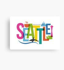 Lienzo Collage de ciudad de tipografía de Seattle