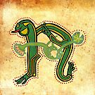 Celtic Frog Letter N - Ancient Canvas version 2017 by Donna Huntriss