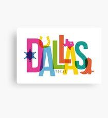 Dallas City Typography Collage Canvas Print