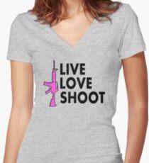 LIve LOve Shoot - 2nd amendment support | Love Guns Women's Fitted V-Neck T-Shirt