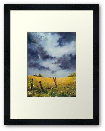 A Stormy Sky, Pastel Artwork Thunderstorm Plains by teatimetomorrow