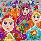 Pretty Ladies in the garden by greenrainart