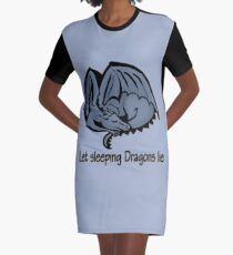 Let sleeping blue dragons lie Graphic T-Shirt Dress