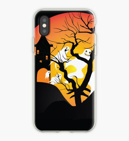 Halloween Ghost Flying out of castle iPhone Case